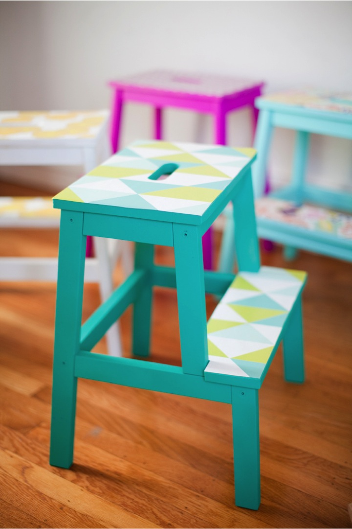 diy-colorful-wallpaper-stool