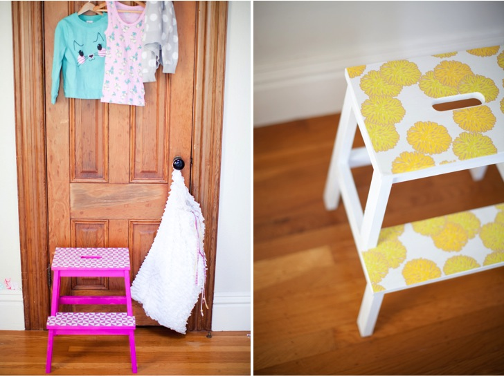 diy-stools-with-paint-and-leftover-wallpaper